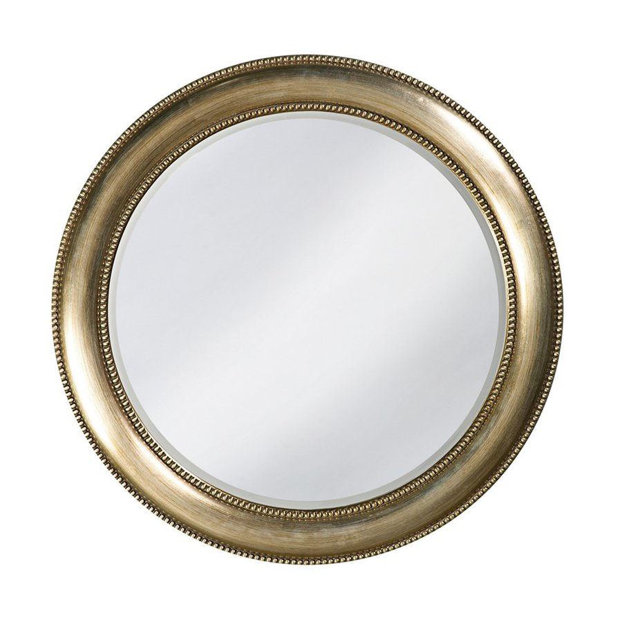 Tyler Dillon Saturn 40-in x 40-in Burnished Silver Leaf Beveled Round Framed Transitional Wall Mirror