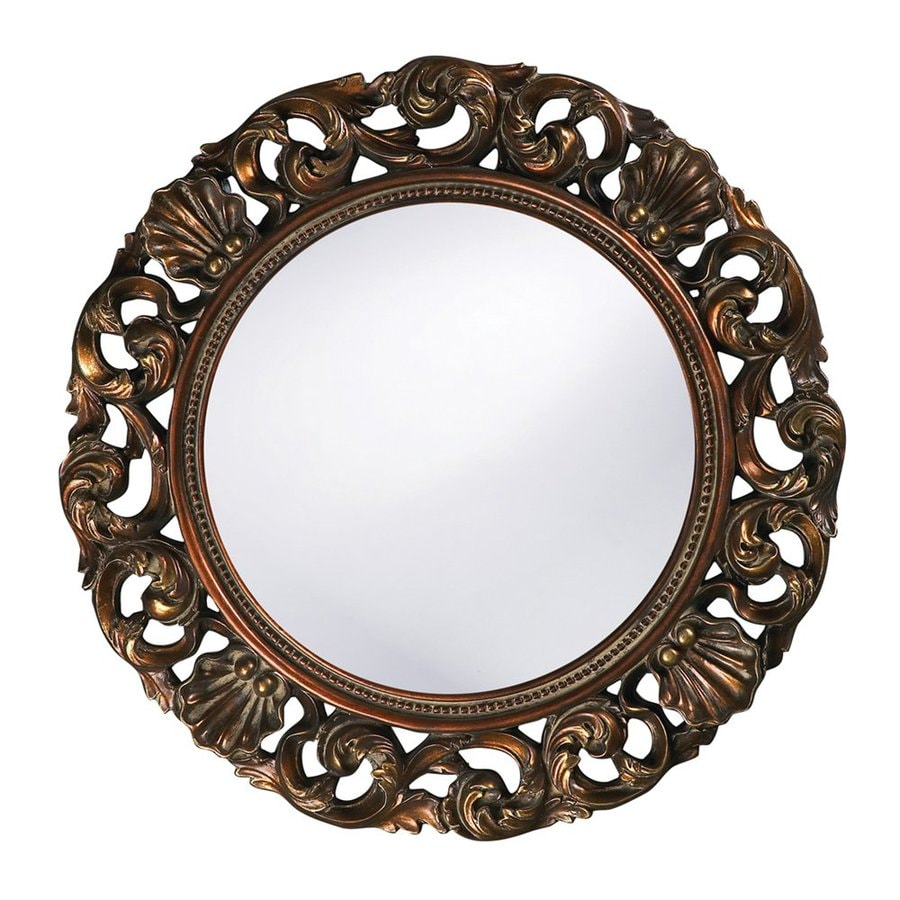 Tyler Dillon Glendale Antique Gold Polished Round Wall Mirror