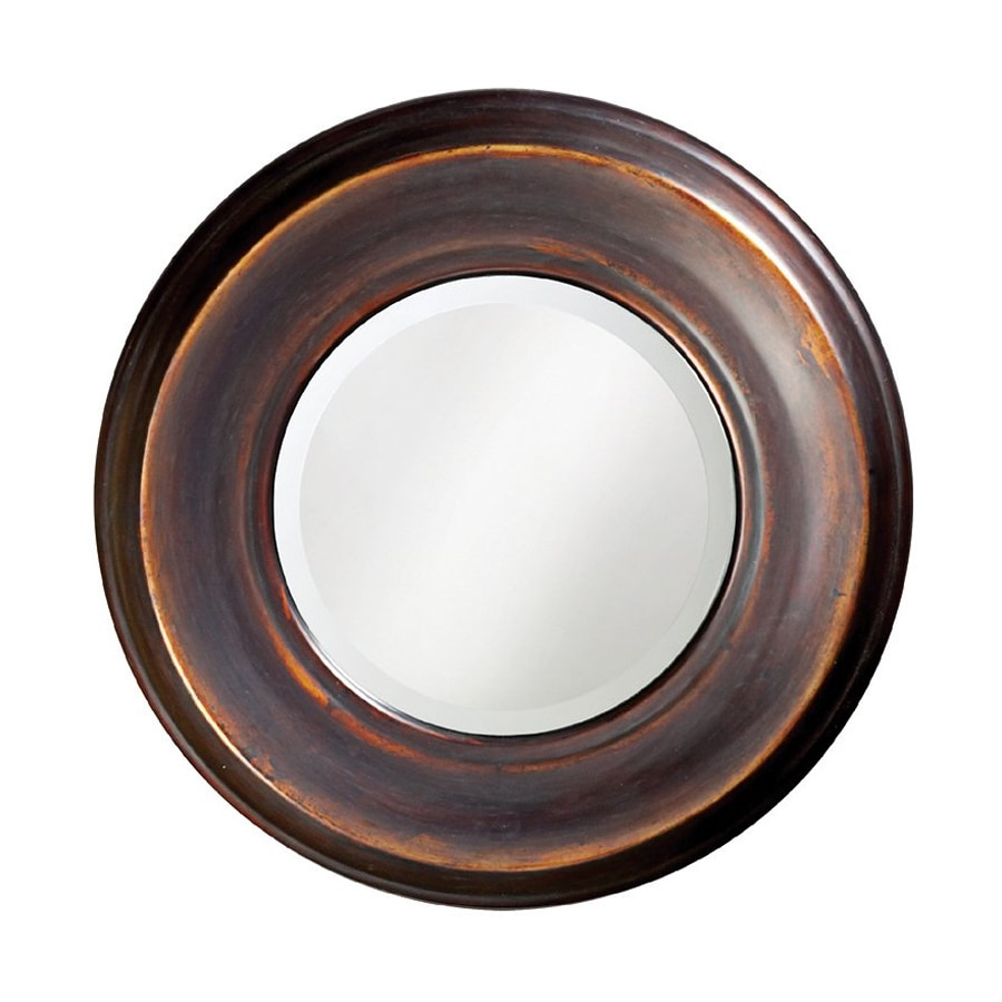 Tyler Dillon Dublin 33-in x 33-in Burnished Copper Beveled Round Framed Transitional Wall Mirror