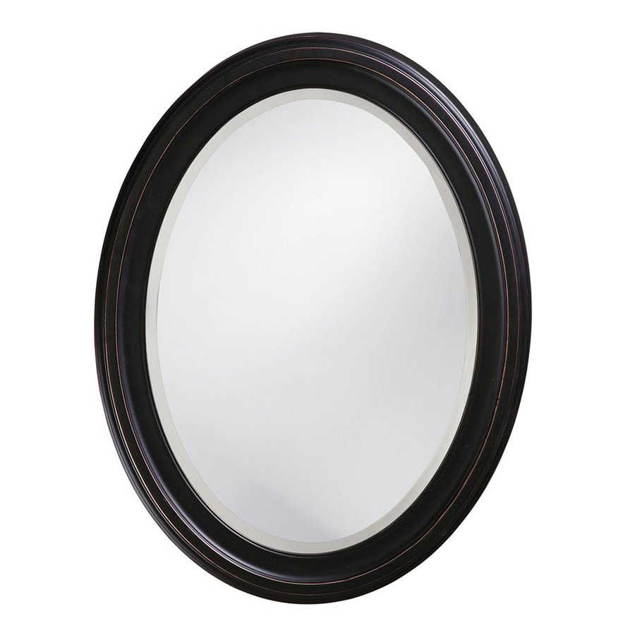 Tyler Dillon George 25-in x 33-in Oil-Rubbed Bronze Beveled Oval Framed Transitional Wall Mirror