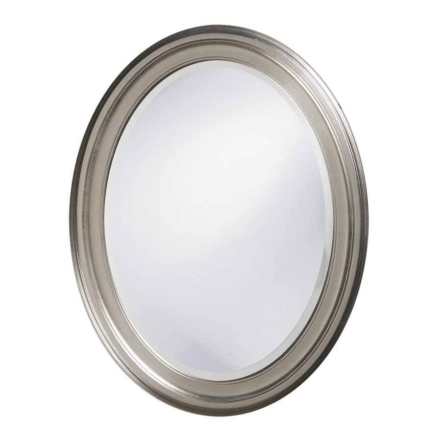 Tyler Dillon George 25-in x 33-in Brushed Nickel Beveled Oval Framed Transitional Wall Mirror