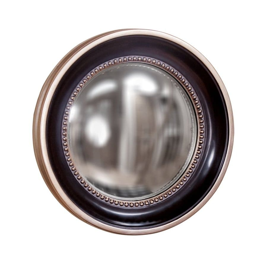 Tyler Dillon Patterson 16-in x 16-in Matte Black Polished Round Framed Transitional Wall Mirror