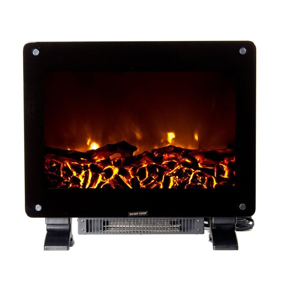 Warm House 21.8-in W 4,700-BTU Black Metal Fan-Forced Electric Fireplace
