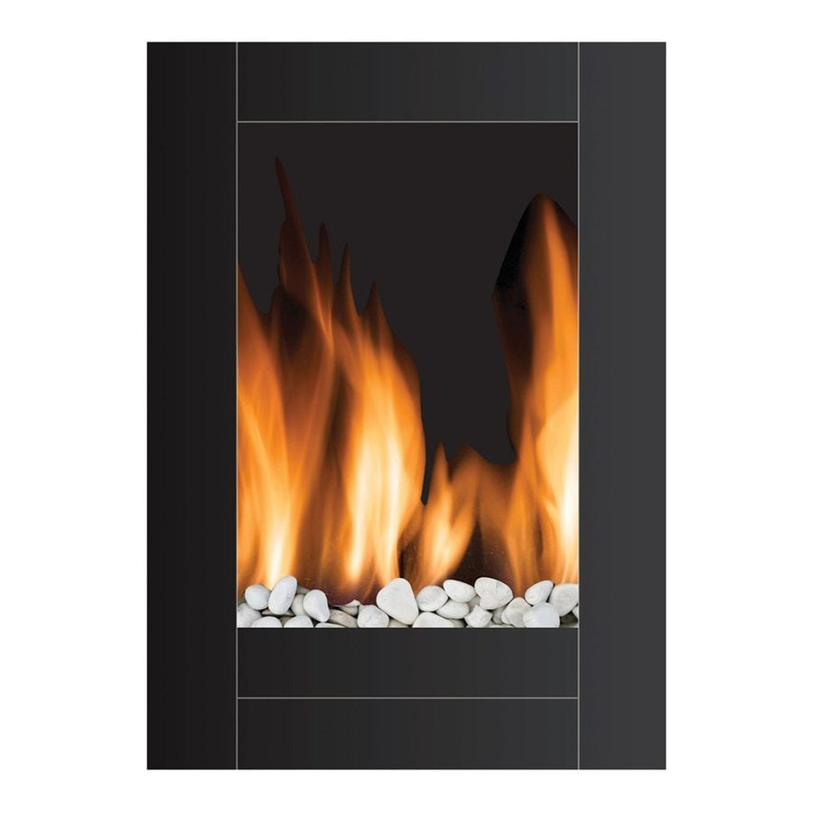 Warm House 22.8-in W 5,000-BTU Black Metal Wall-Mount LED Electric Fireplace with Remote Control