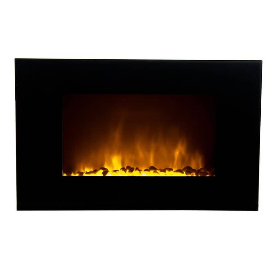 Warm House 34.6-in W 5000-BTU Black Metal Wall-Mount Fan-Forced Electric Fireplace with Remote Control