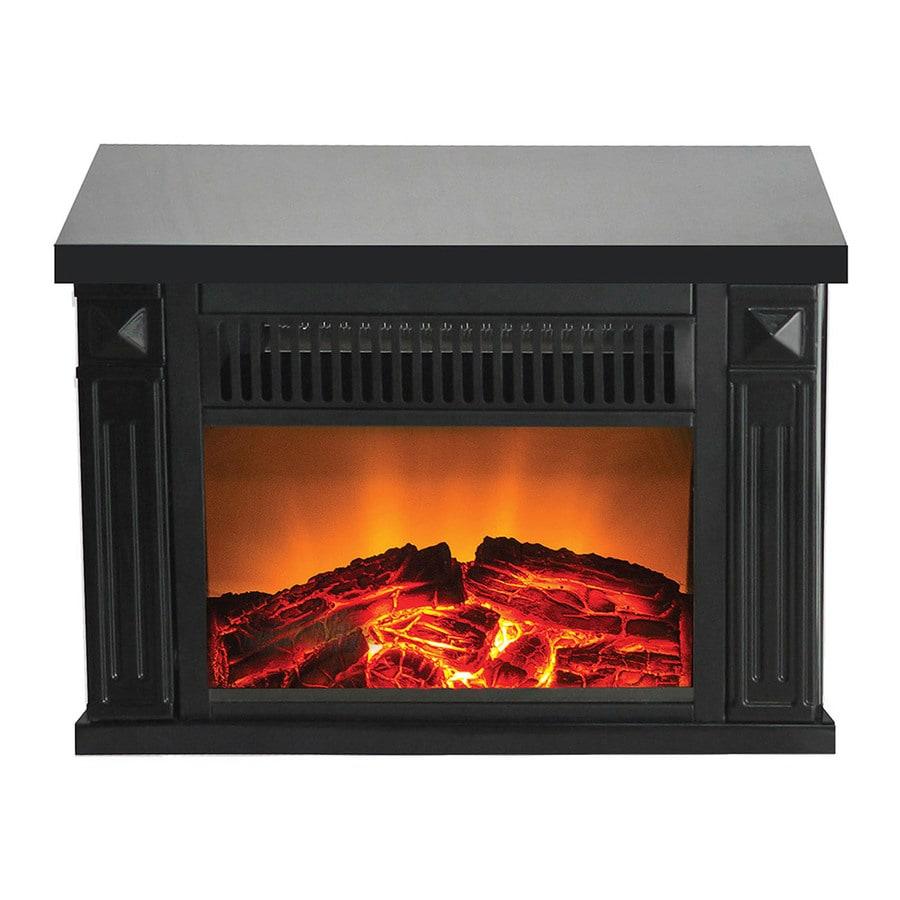 Warm House 13.4-in W 3,400-BTU Black Metal Fan-Forced Electric Fireplace
