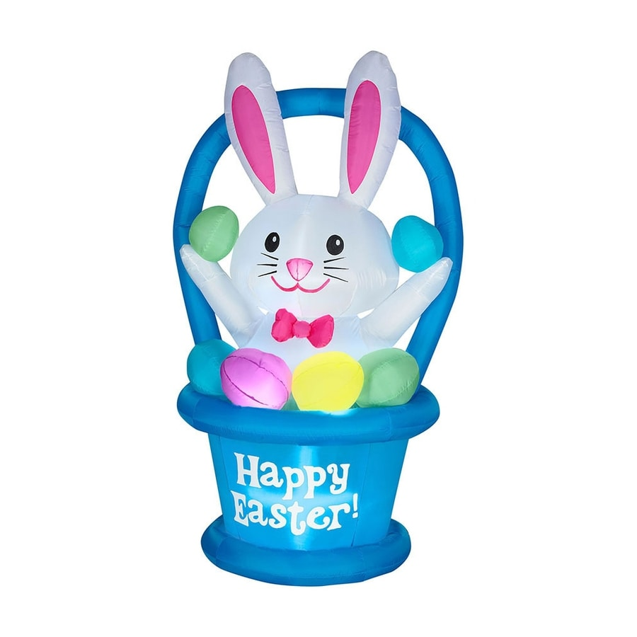 Shop J Marcus Inflatable Easter Bunny In Basket Outdoor Decorations At Lowescom