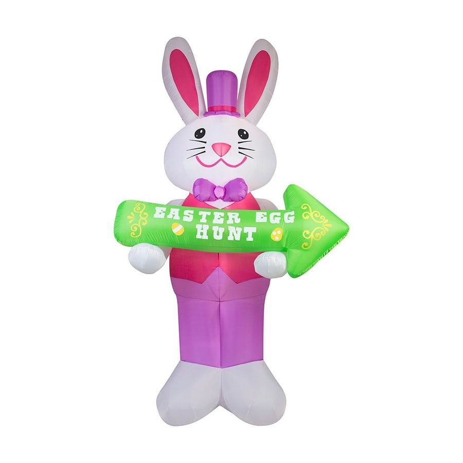 J. Marcus Inflatable Gentleman Easter Bunny with Sign Outdoor Easter Decorations