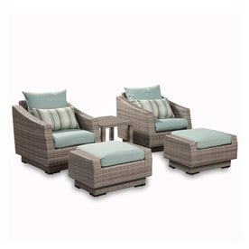 Rst Brands Cannes 5 Piece Wicker Patio Conversation Set With Bliss Blue Cushions