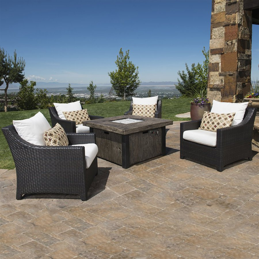 RST Brands Deco 5-Piece Wicker Patio Conversation Set with Moroccan Cream Cushions