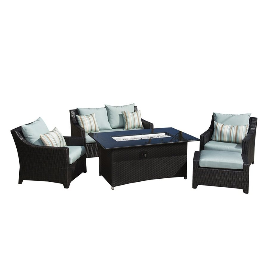 RST Brands Deco 5-Piece Wicker Patio Conversation Set with Bliss Blue Cushions