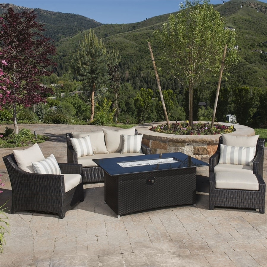 RST Brands Deco 5-Piece Wicker Patio Conversation Set with Slate Grey Cushions