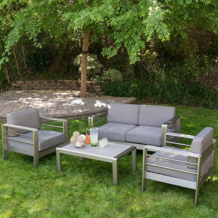 Best Ing Home Decor Mililani 4 Piece Aluminum Frame Patio Conversation Set With Cushions