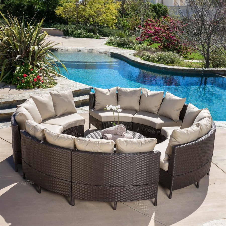 Shop best selling home decor newton 10 piece wicker patio for Backyard pool furniture