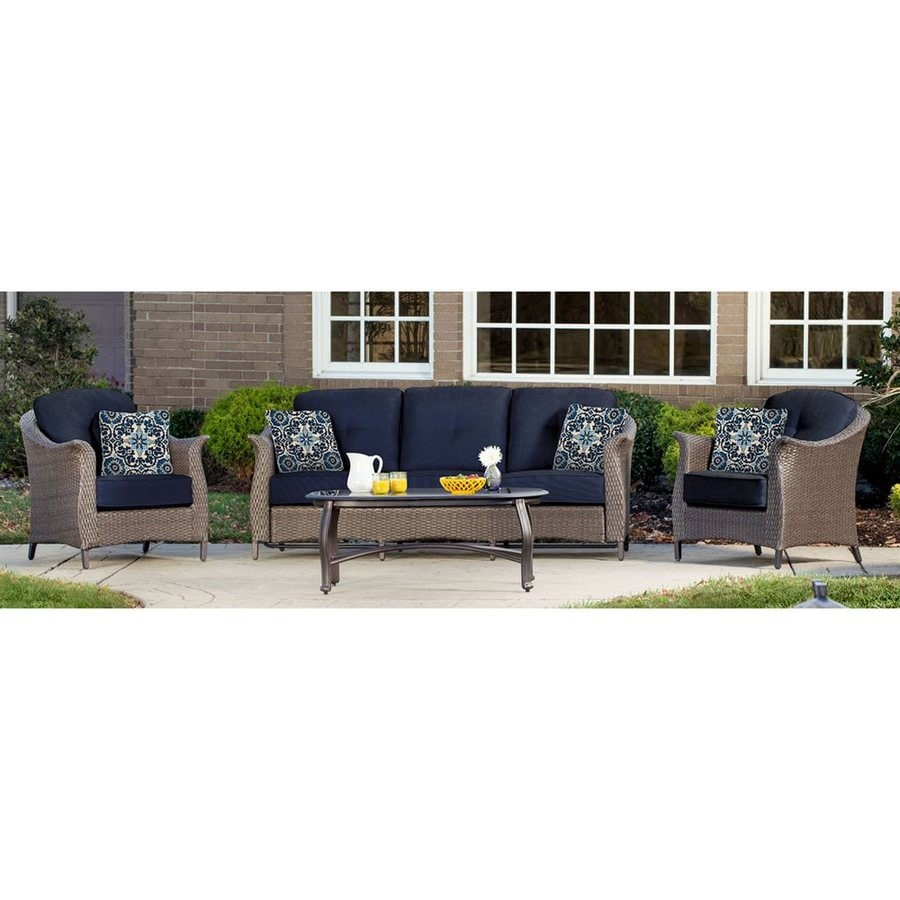 Shop hanover outdoor furniture gramercy 4 piece wicker for Outdoor patio couch set