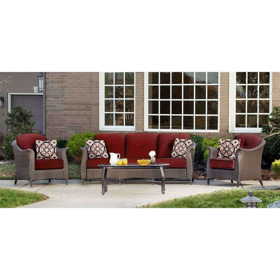 Hanover Outdoor Furniture Gramercy 4-Piece Wicker Patio Conversation Set with Red Cushions