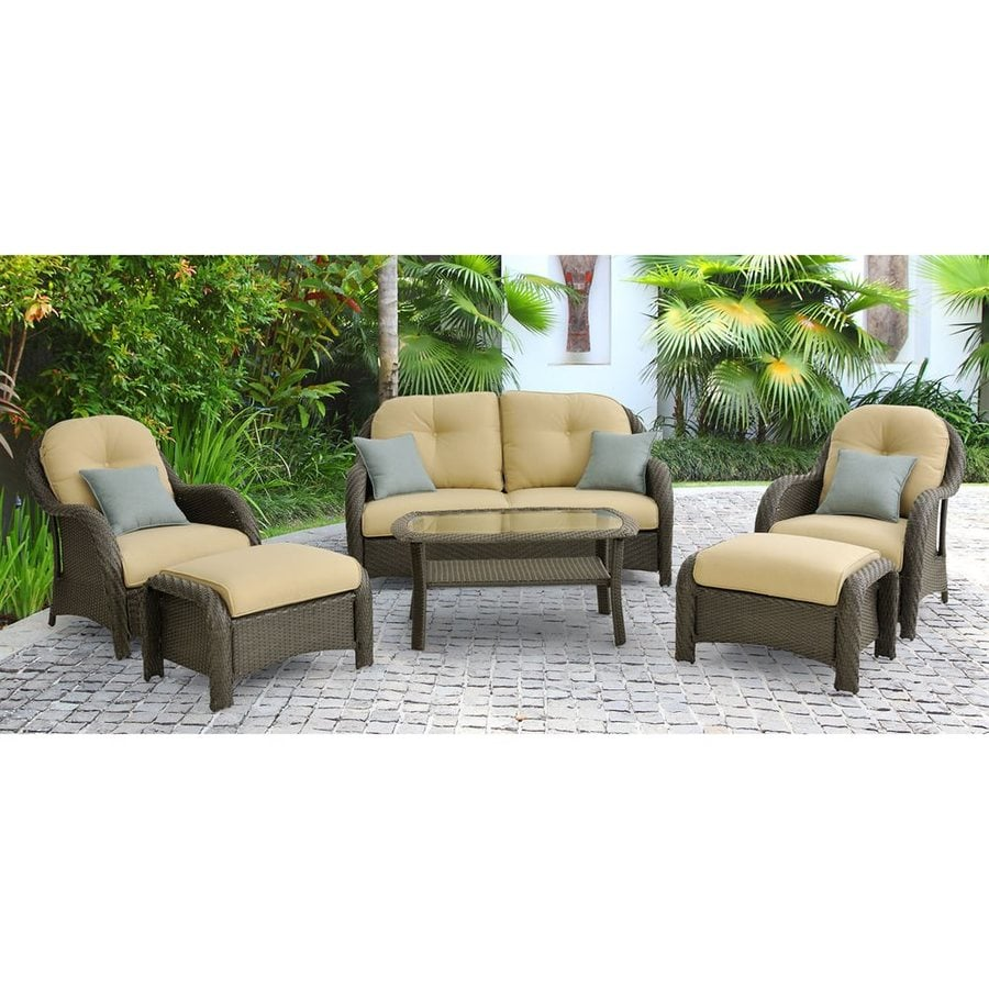 shop hanover outdoor furniture newport 6 piece wicker frame patio conversation set with tan. Black Bedroom Furniture Sets. Home Design Ideas