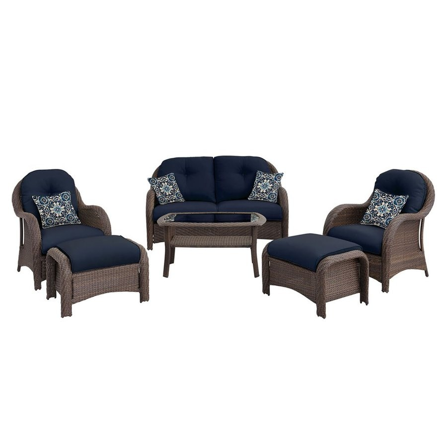 Hanover Outdoor Furniture Newport 6 Piece Wicker Patio Conversation Set  With Navy Cushions