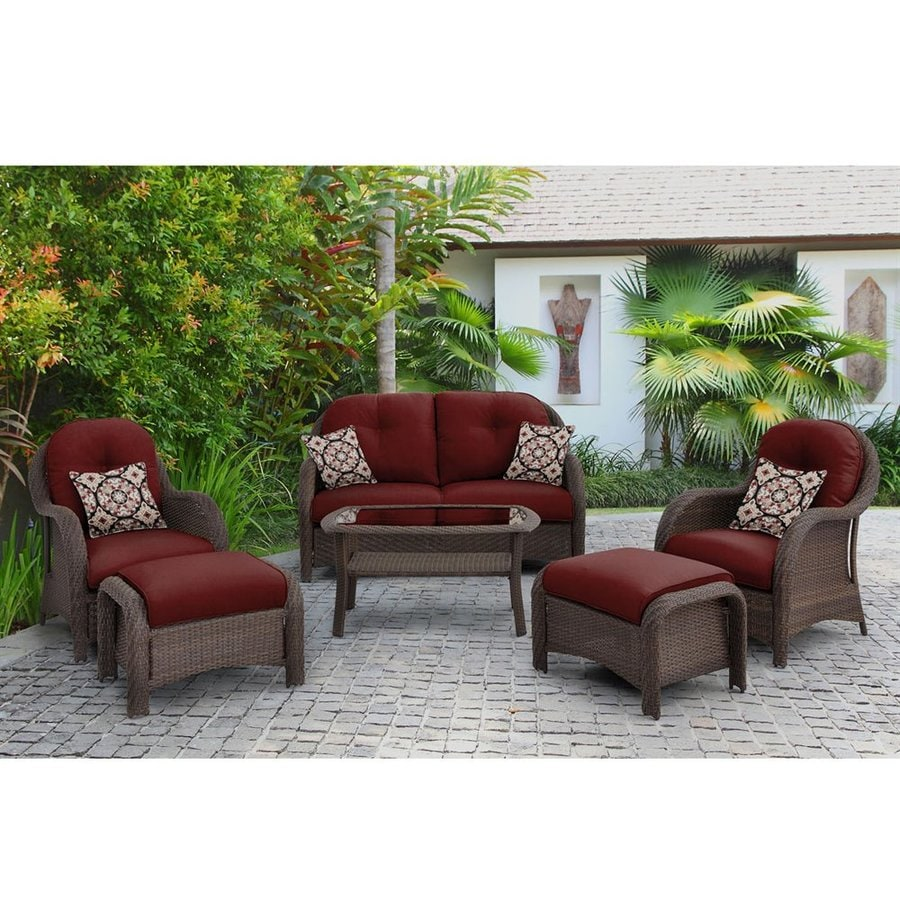 Hanover Outdoor Furniture Newport 6 Piece Wicker Frame Patio Conversation Set With Red Cushions