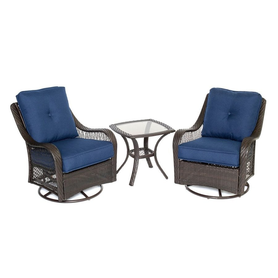 Hanover Outdoor Furniture Orleans 3 Piece Wicker Frame Patio Conversation  Set With Navy Cushions