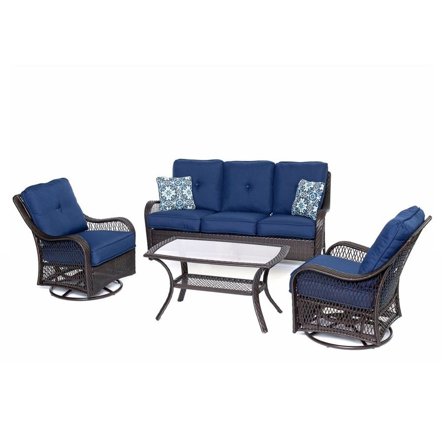Hanover Outdoor Furniture Orleans 4 Piece Wicker Patio Conversation Set
