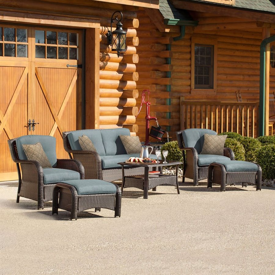 Hanover Outdoor Furniture Strathmere 6-Piece Wicker Patio Conversation Set with Blue Cushions