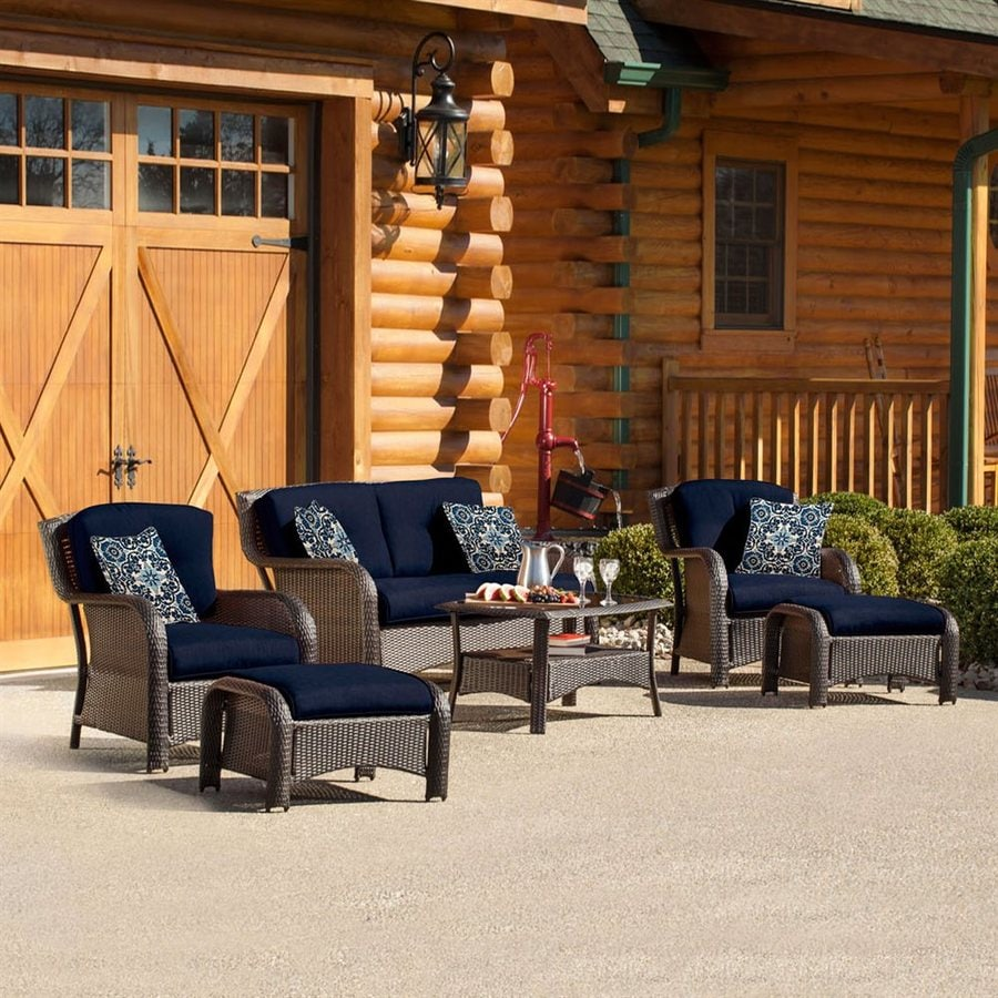 Hanover Outdoor Furniture Strathmere 6 Piece Wicker Patio Conversation Set