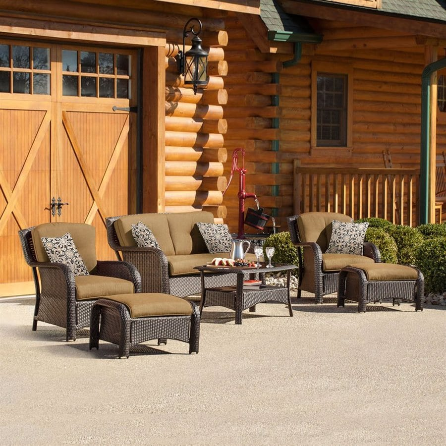 Hanover Outdoor Furniture Strathmere 6-Piece Wicker Patio Conversation Set with Tan Cushions