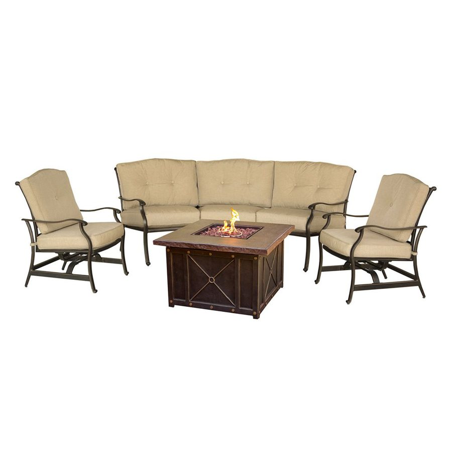 Hanover outdoor furniture traditions 4 piece aluminum frame patio conversation set with tan cushions