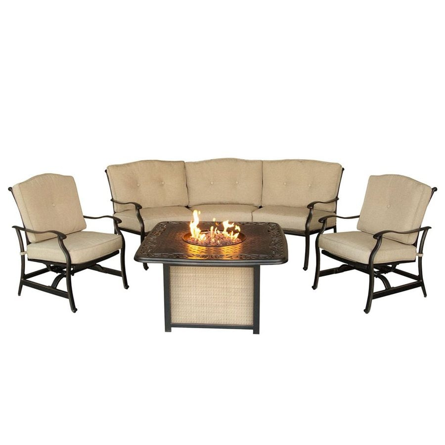 Shop hanover outdoor furniture traditions 4 piece aluminum for Outdoor furniture 4 piece