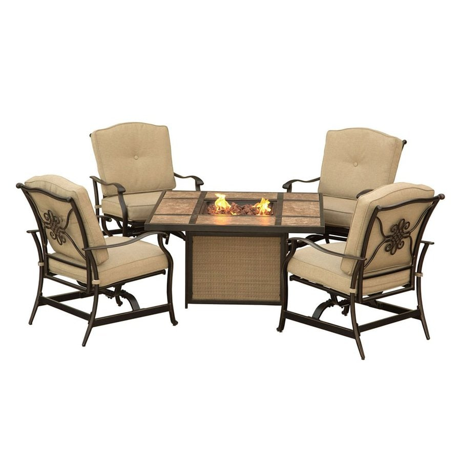 Hanover Outdoor Furniture Traditions 5-Piece Aluminum Patio Conversation Set with Tan Cushions