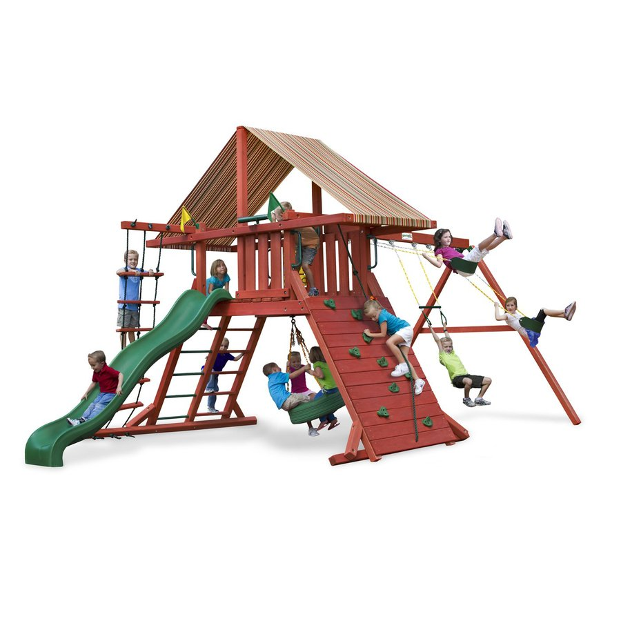 Gorilla Playsets Wooden Sun Climber Playset with 3 Swings