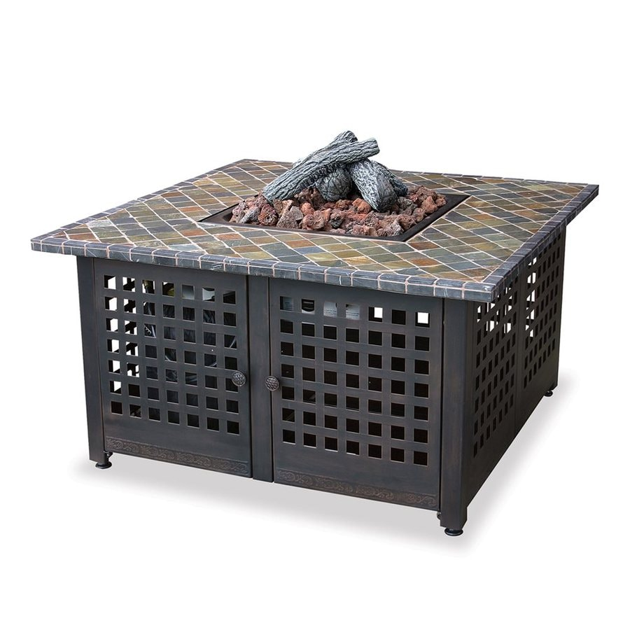 Blue Rhino 41.3-in W 40000-BTU Slate Tile Iron Liquid Propane Fire Table