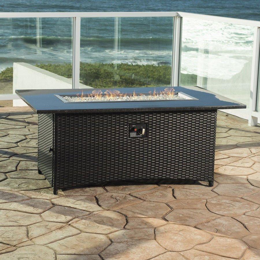 RST Brands 58-in W 55000-BTU Wicker Liquid Propane Fire Table