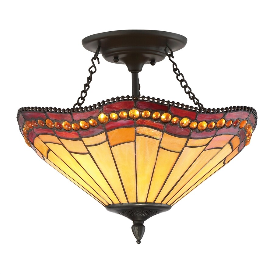 Shop Quoizel 17 In W Vintage Bronze Tea Stained Glass Tiffany Style Semi Flush Mount Light At