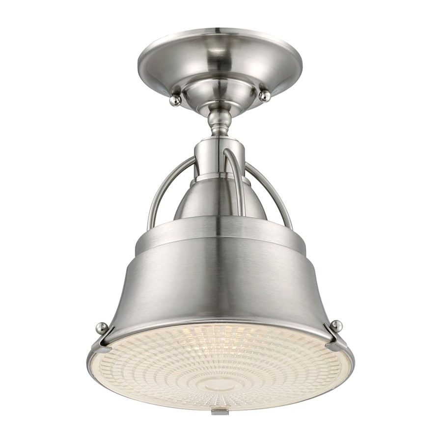 Ashley Harbour 8-in W Brushed Nickel Textured Semi-Flush Mount Light