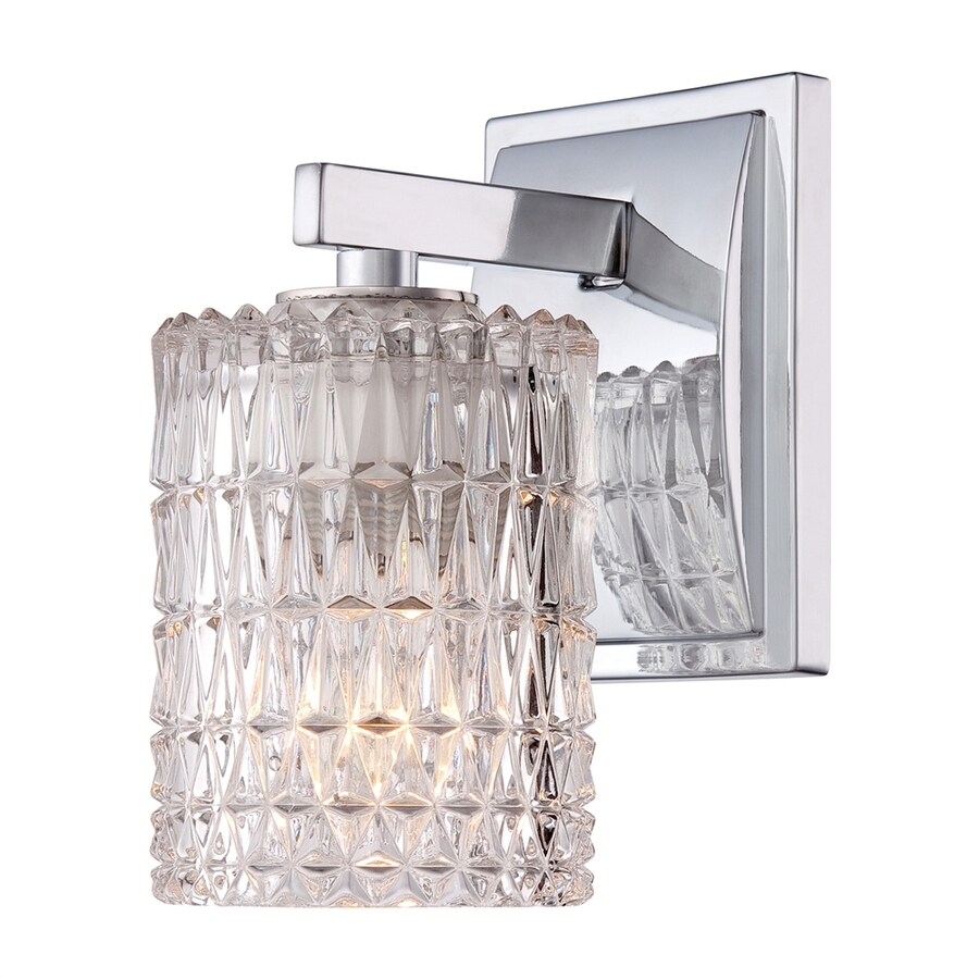 allen + roth 1-Light 8.75-in Polished Chrome Cylinder Vanity Light