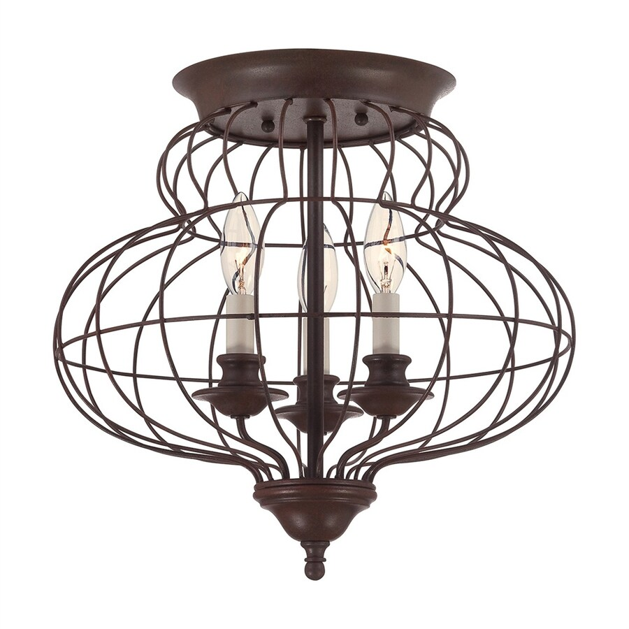 Ashley Harbour 15-in W Rustic Antique Bronze Shades Semi-Flush Mount Light