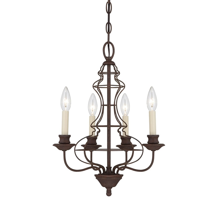 Quoizel 15.25-in 4-Light Rustic Antique Bronze Vintage Candle Chandelier