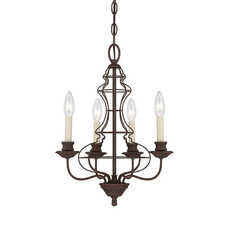 Ashley Harbour 15.25-in 4-Light Rustic Antique Bronze Vintage Candle Chandelier