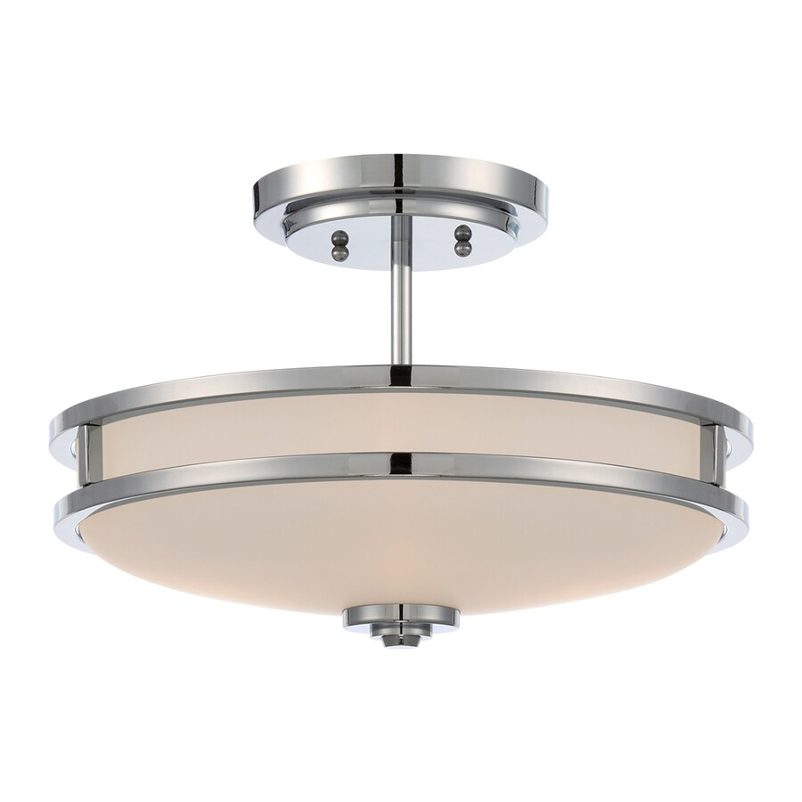 Ashley Harbour 15-in W Polished Chrome Frosted Glass Semi-Flush Mount Light