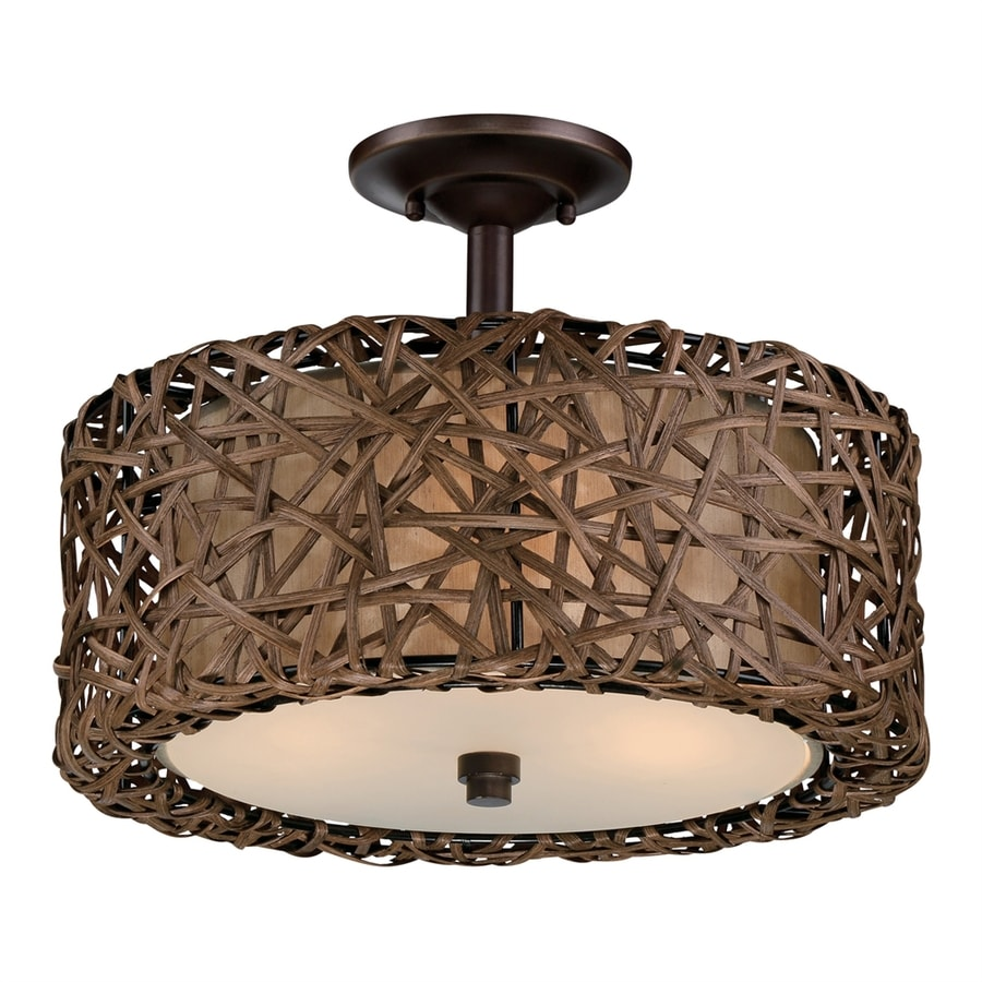 Quoizel 15-in W Palladian Bronze Frosted Glass Semi-Flush Mount Light