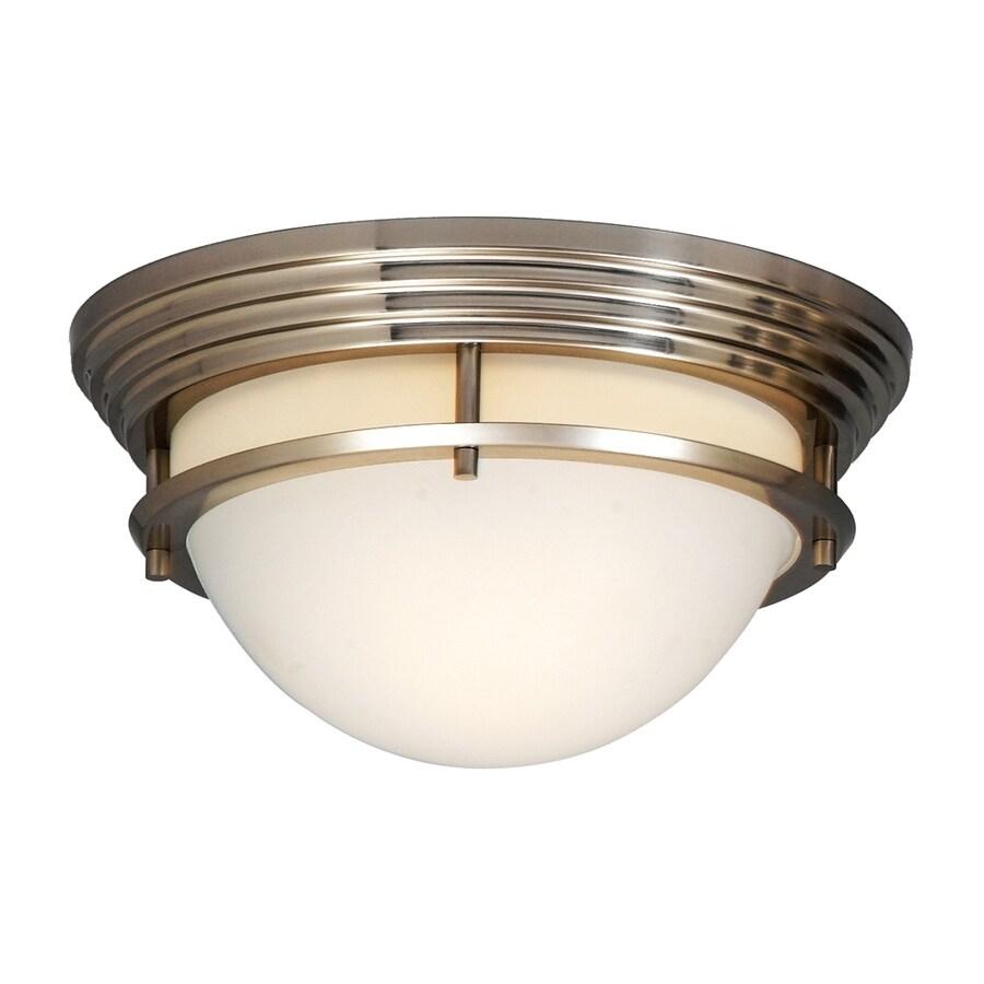 Portfolio 11-in W Brushed Nickel Flush Mount Light