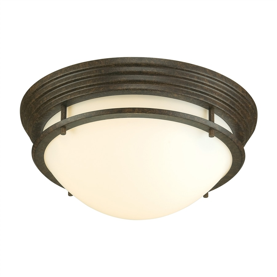 Portfolio 14-in W Metro Aged Bronze Flush Mount Light