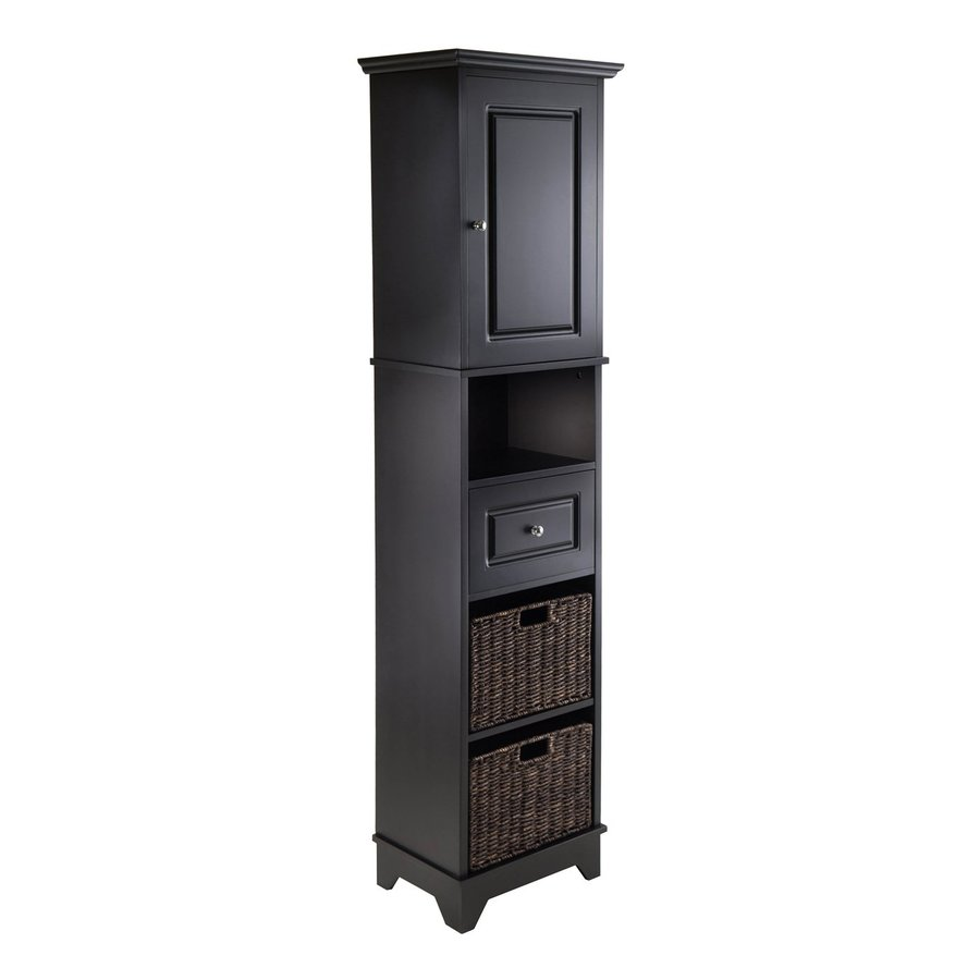 black linen cabinets for bathroom shop winsome wood wyatt 18 11 in w x 70 87 in h x 12 99 in 22770