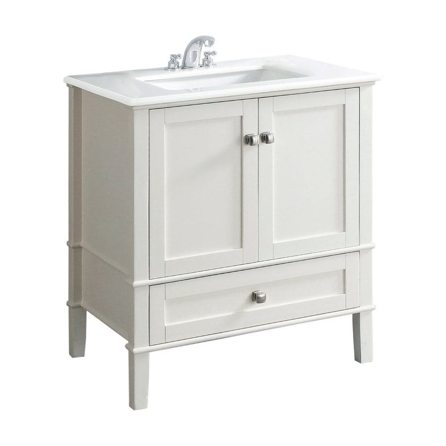 Simpli Home Chelsea Chelsea White 31-in Undermount Single Sink Bathroom Vanity with Quartz Top