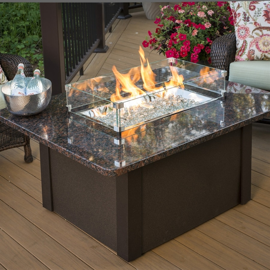 Outdoor Greatroom Company 36-in W 65000-BTU British Copper Aluminum Propane  Gas Fire Table - Outdoor Greatroom Company 36-in W 65000-BTU British Copper Aluminum