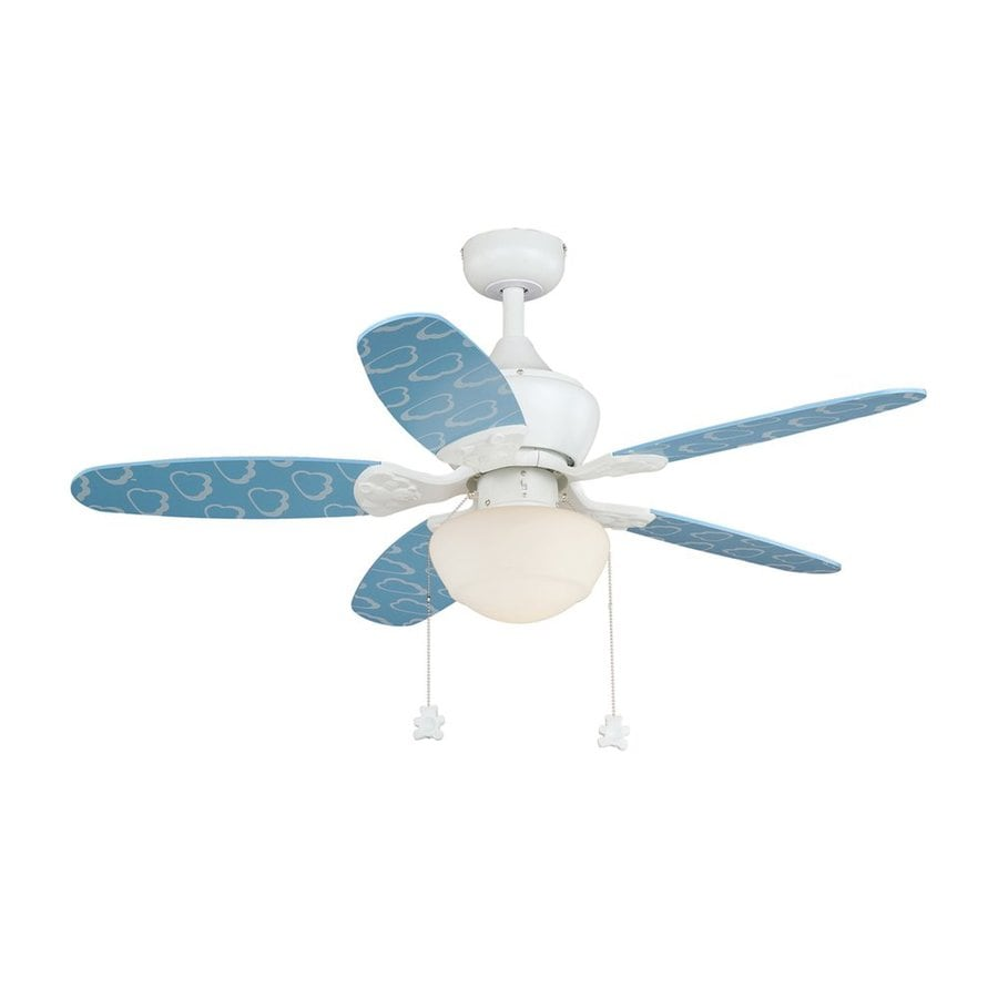 Cascadia Lighting Alex 44-in Blue Clouds Indoor Downrod or Close Mount Ceiling Fan with Light Kit (5-Blade)