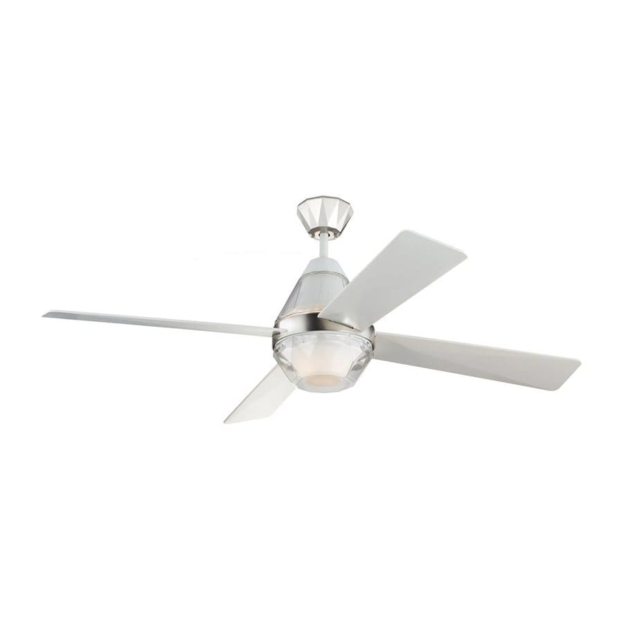 Monte Carlo Fan Company Diamond 52-in Rubberized White Downrod Mount Indoor Ceiling Fan with LED Light Kit and Remote (4-Blade)