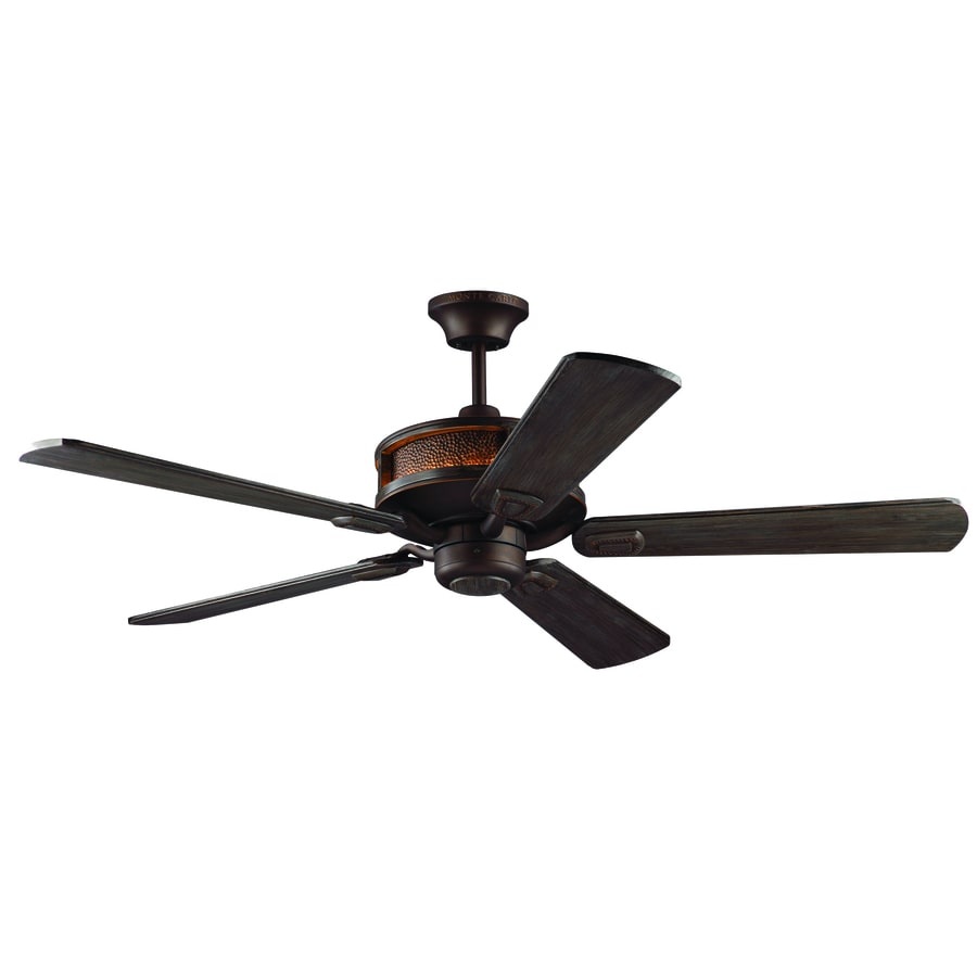 Monte Carlo Fan Company Artizan 56-in Walnut Integrated LED Indoor/Outdoor Downrod Mount Ceiling Fan and Remote